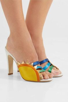 Heel measures approximately 100mm/ 4 inches White leather, gold textured-leather, multicolored satin Slip on