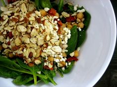 A Better Bite: Spinach Salad with Chickpeas, Almonds and Sun-dried Tomatoes