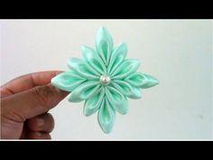 ▶ Flores kanzashi flower snowflakes on ribbons en cintas para el cabello - YouTube