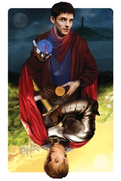 Two Sides of the Same Coin - Merlin and Arthur Pendragon Print