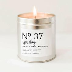 Spa Day Natural Soy Wax Candle Silver Tin Summer Scented Sea Salt Jasmine Wood Cream Spa Candle Modern Rustic Home Decor Bathroom Accessories Relaxation Candle Made in USA Lead Free Cotton Wick: Handmade