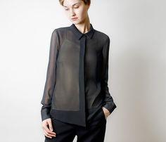 Black chiffon blouse