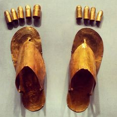 // #fashion #MET #Egypt  These were used for King Tut's feet. He had ones to use on his fingers too. We saw these at the King Tut exhibit in Seattle