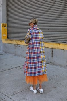 Bright plaid and tulle // Blair Eadie wearing an ASOS coat and Novis skirt // Click through to Atlantic-Pacific for more outfit details and plaid outfit inspiration
