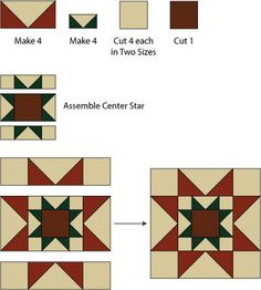 Christmas Rising Star Quilt Block Pattern