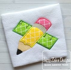 Pencil and Ruler Applique by www.jazzyzebra.com.  Free July 2016 Gold Design at www.theappliquecircle.com