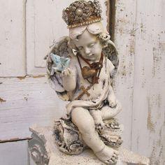 Cherub angel statue handmade crown holding French blue bird Santos inspired angelic figure embellished home decor Anita Spero Design