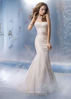 Attractive Trumpet / Mermaid Sweetheart Floor-length Satin White Wedding Dresses - $153.99 - Trendget.com