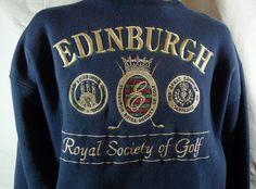 Mens Edinburgh Royal Golf Sweatshirt XL Embroidered Blue golden trim Warm #Dannagers #SweatshirtCrew