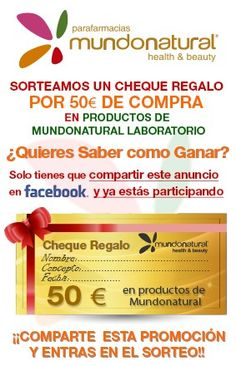 CHEQUE REGALO DE 50€ EN COMPRAS DE PRODUCTOS DE LABORATORIOS MUNDONATURAL