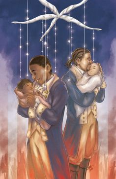 Burr and baby Theodosia, Hamilton and baby Philip.