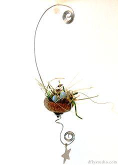 Miniature fairy garden acorn birds nest with beads. $6.99, via Etsy.