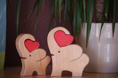 Wooden elephant with heart, home decor elephants, wooden gift nursery decor…