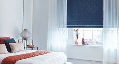 Element-Denim-Roman-blind-with-Ozone-White-Voile-curtain -