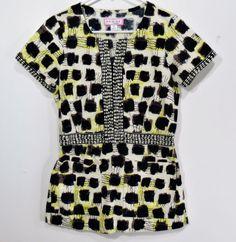 This KOI medical scrub top has a geometric / animal / tribal print. Elastic waist in back.   eBay!