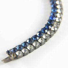 Double row midnight blue and clear rhinestone 1950s bracelet. Available @ www.luluandbelle.com