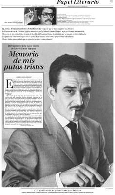 Publicación libro de Gabriel García Marquez Memoria de mis putas tristes.  Publicado el 23 de octubre de 2004