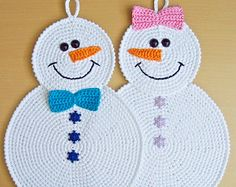 038 Snowman potholder decor - Amigurumi Crochet Pattern PDF file by Zabelina Etsy