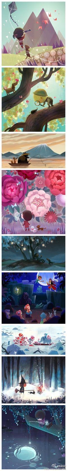 Joey Chou,台湾插画师,15岁时与父母迁往美国,现在在索尼动画工作,此前7年里曾在Nickelodeon、迪斯尼工作,除了动画设计之外,他还从事插画设计,如儿童书、贺卡等,他的插画作品里主角大部分是可爱的动物、儿童与小孩,画面温馨有趣。