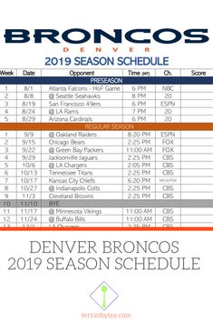 Denver Broncos Schedule 2020.43 Best Denver Broncos Images In 2019 Denver Broncos