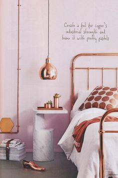 10 Perfect Bedroom Interior Design Color Schemes - Pink and copper work surprisingly well! Home Bedroom, Bedroom Decor, Bedroom Ideas, Modern Bedroom, Master Bedroom, Bedroom Inspiration, Design Bedroom, Contemporary Bedroom, Bedroom Inspo