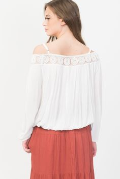 Off-Shoulder White Peasant Top With Crochet Trim
