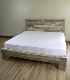 "Solid wood platform bed. Platform features a rough sawn rustic finish. Heavily textured yet smooth enough to prevent snagging sheets and snagging bedding. Platform is made to accommodate specialty mattress systems such as tempurpedic. This bed is a heavy duty solid piece. Quality made. If you use a specialty mattress system please let us know. Some systems have specific support requirements. Platform sits 15"" from floor to top of bedframe. Approx. 8"" of storage space u..."