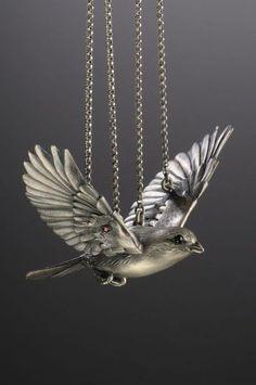 Metalsmith Yuri Tozuka - articulated metal bird neckpiece.