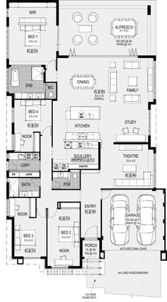 Plan dream house plans, small house plans, house floor plans, small house d 4 Bedroom House Plans, New House Plans, Dream House Plans, House Floor Plans, Home Design Floor Plans, Plan Design, Building A New Home, Building Plans, Casas The Sims 4