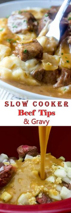 Slow Cooker Beef Tips and Gravy is perfect to serve to dinner guests but simple enough for a weeknight dinner recipe or appetizer recipe! Serve it over noodles, potatoes or rice!