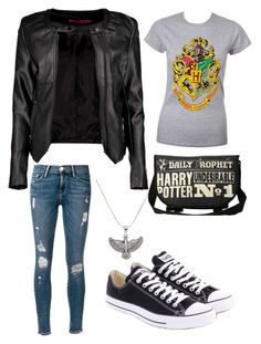 """HOGWARTS!!!"" by cheyennehago ❤ liked on Polyvore featuring Boohoo, Frame Denim, Converse and Alex and Ani"