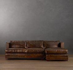 RH Easton Leather Sofa w Chase