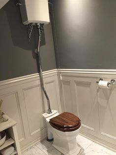 New Dark Grey Painted Furniture Farrow Ball Ideas Wooden Bathroom Floor, Dark Wood Bathroom, Bathroom Paneling, Bathroom Wall Panels, Bathroom Flooring, Small Downstairs Toilet, Small Toilet Room, Downstairs Cloakroom, White Washed Wood Paneling