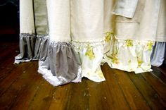 Drop cloth curtains w/ velvet ruffles... luv.  Via The Nester from Bebe Gallini's