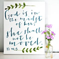 "Canvas ""God is in her midst"" 11x14 {customizable}"