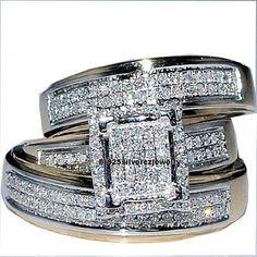 14K White Gold 925 Sterling Silver Lab Diamond Trio Bridal Wedding Ring Band Set #br925silverczjewelry