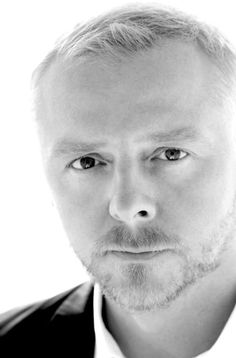 Simon Pegg - black and mostly white photo