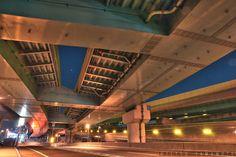 Tsukiguma JCT of Fukuoka Urban Expressway  福岡都市高速月隈JCT by Tetsu Yamamoto