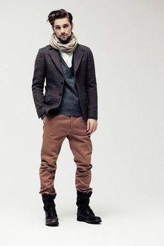 Mens style Beard scarf jacket boots