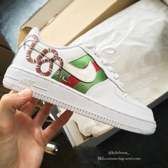 low priced 245ca 6c16e Gucci Snake 🐍 custom by Kylie Boon   jkl customs. Air Force Sneakers, Nike