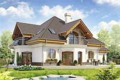 Zdjęcie projektu Dzierlatka III styl z garażem [A] WRF House Plans Mansion, Duplex House Plans, Bungalow House Design, Modern House Design, Home Building Design, Building A House, 4 Bedroom House Designs, Modern Bungalow House, Beautiful House Plans