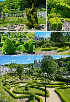 DURBUY TOPIARY GARDEN: (top) the Elephant and Pamela Anderson (middle) Squirrels and Kayakers, (Bottom) View of the park from the roof of the shop. Garden Landscape Design, Small Garden Design, Great Places, Places To See, Belgium Hotels, Topiary Garden, Renaissance Architecture, Ardennes, Living In Europe