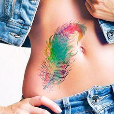 Pluma acuarela - Tatuajes temporales