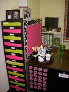 Organization- file cabinet not backed up against a wall, hanging file pockets up