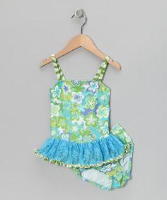 Take a look at this Turquoise Cloud Flower Ruffle Tankini - Infant, Toddler & Girls by Frankie & Daisy on #zulily today!