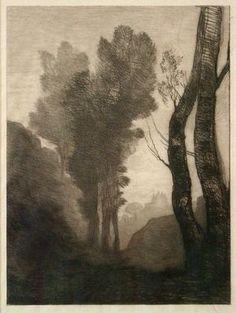 Jean Baptiste Camille Corot (Fr. 1796-1875), Environs de Rome, 1866, gravure, 28.9 cm x 21.3 cm. TREES IN ART