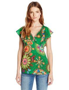 Desigual Women's Woven Blouse Short Sleeve 2, Green, Small