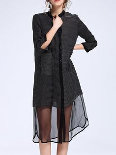 Shop Tunics - Black Ramie Paneled Stand Collar Casual Tunic online. Discover unique designers fashion at StyleWe.com.