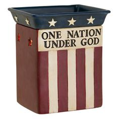 JUNE WARMER OF THE MONTH: ONE NATION  put your patriatism on display with this hand painted tribute to the stars and stripes. featuring a phrase from the pledge of allegiance, one nation is the perfect accent for summer and the 4th of july decorating