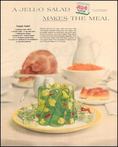 Vintage ad: Jell-O, 1955 - You, too, can make this molded horror show. Ad includes the recipe.